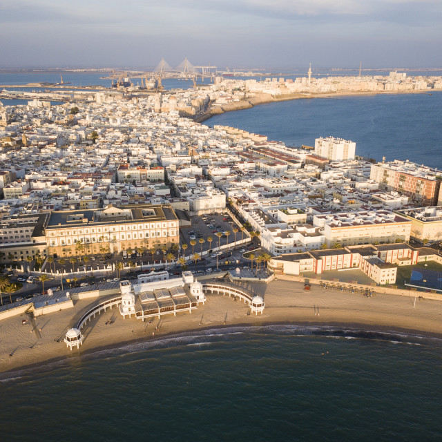 """""""Aerial view of Cadiz, Andalucia, Spain (drone)"""" stock image"""