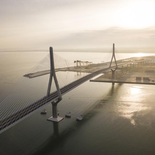 """The Constitution of 1812 Bridge at dawn, Cadiz, Andalucia, Spain (drone)"" stock image"