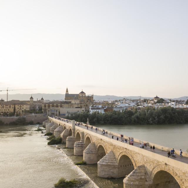 """Roman Bridge, Cordoba, Andalucia, Spain (drone)"" stock image"