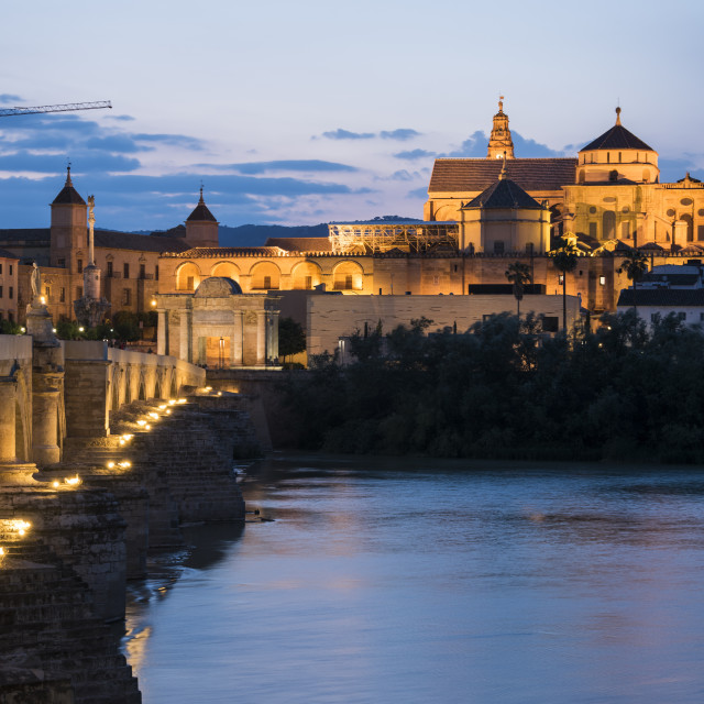 """""""The Cathedral and Great Mosque of Córdoba (Mezquita) and Roman Bridge at..."""" stock image"""