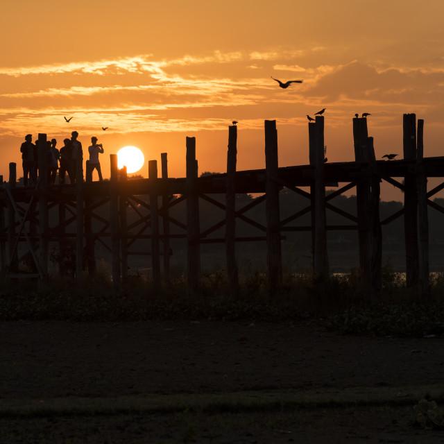"""""""U Bein Bridge, Amarapura"""" stock image"""