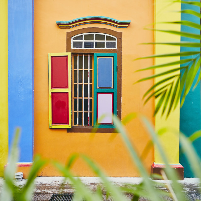 """Colorful window in Singapore"" stock image"