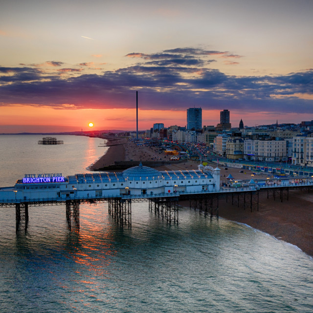 """The sun sets after a blazing hot weekend in Brighton."" stock image"