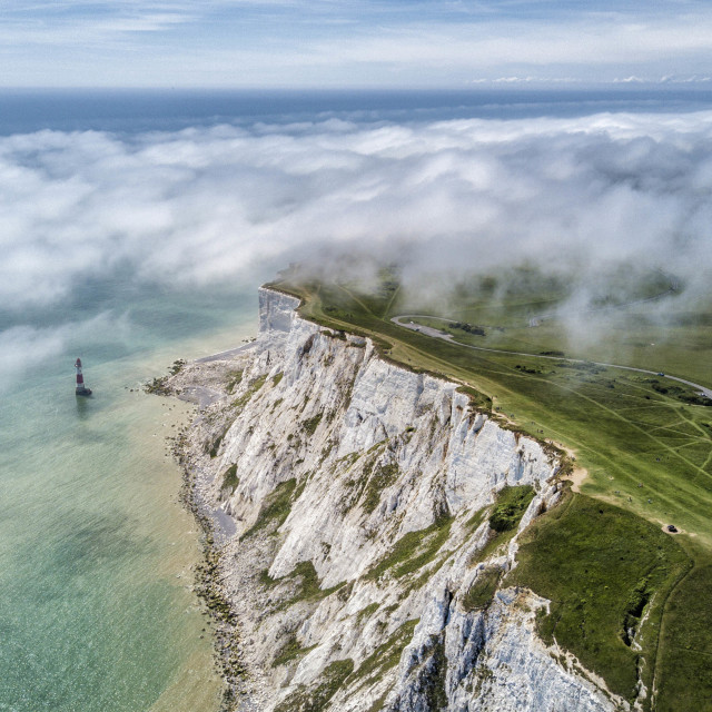 """Sea fog drifts across Beachy Head."" stock image"