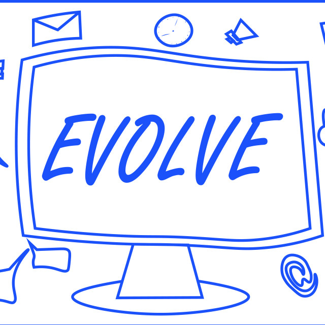 """""""Handwriting text writing Evolve. Concept meaning develop gradually Improve..."""" stock image"""