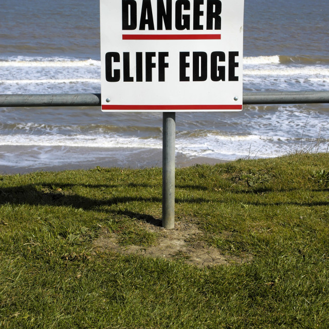 """Danger Unstable Cliff Edge Warning Sign"" stock image"