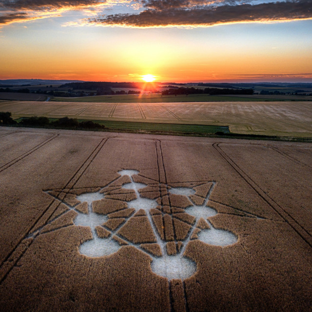 """Crop circles in Dorset by drone"" stock image"