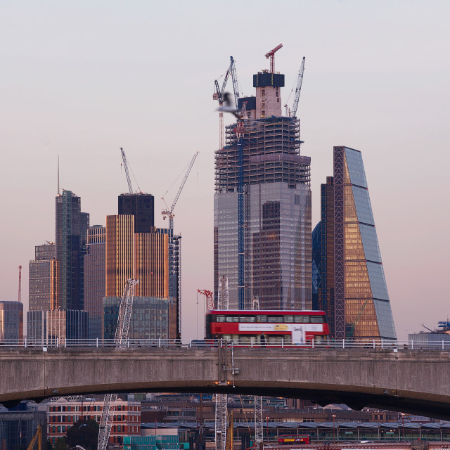 """City of London and Waterloo Bridge"" stock image"