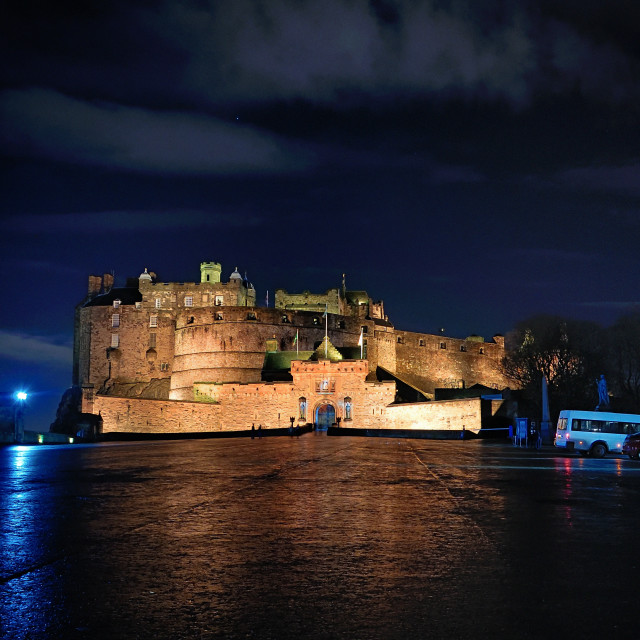 """Edinburgh Castle at Night"" stock image"