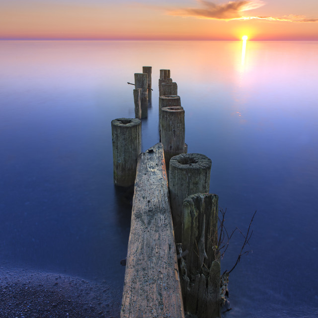 """Sunrise at Fifty Point in Ontario"" stock image"