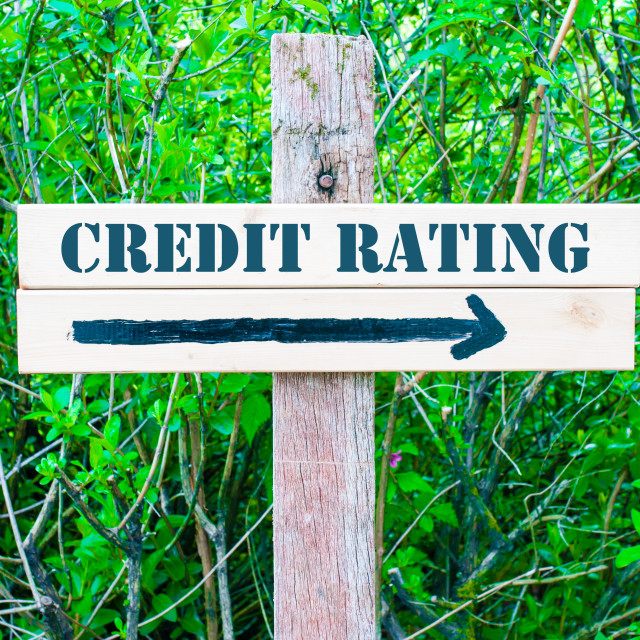 """""""CREDIT RATING Directional sign"""" stock image"""