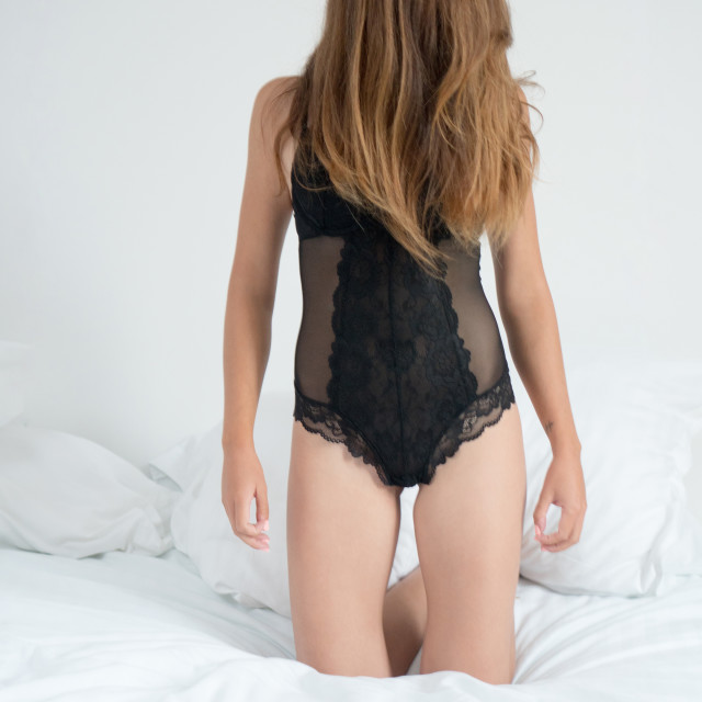 """Judit :: 'Cousin It' in Black Corset"" stock image"