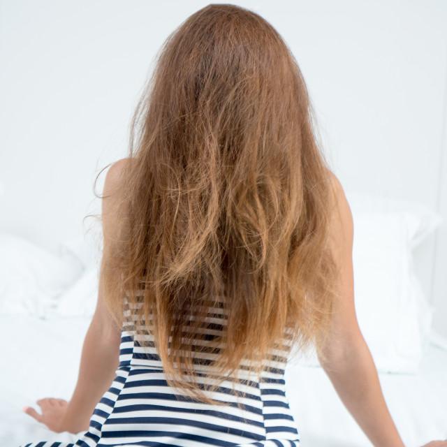 """Judit :: 'Cousin It' in Stripped Dress"" stock image"