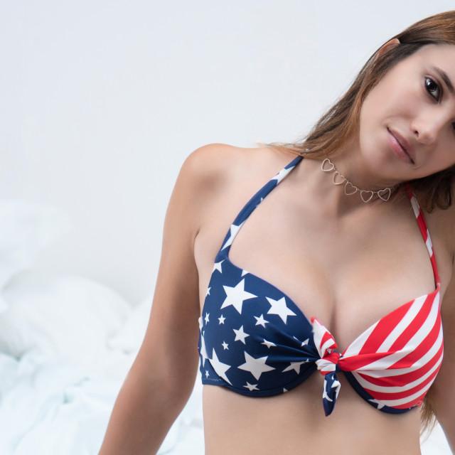 """Judit :: American Sweetie in Bed"" stock image"