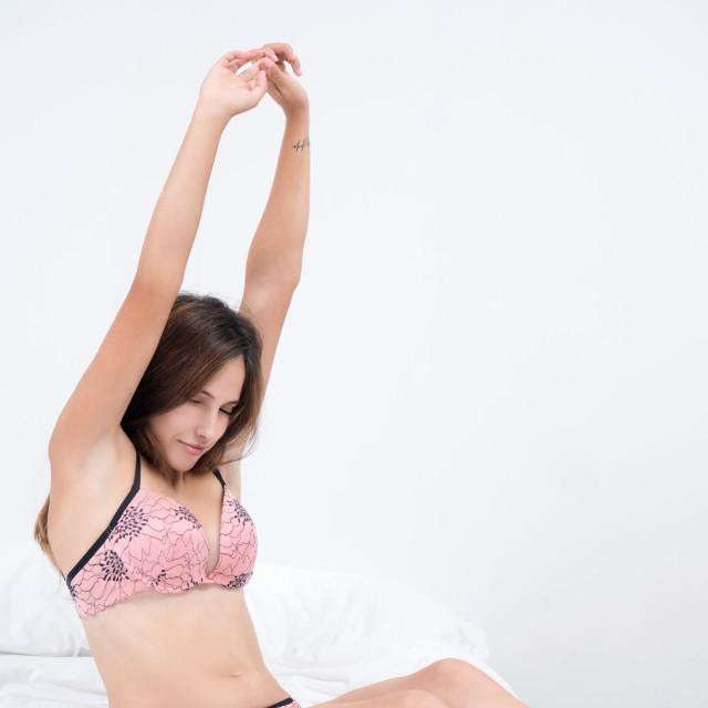 """""""Judit :: Sweet Waking Up in Pink"""" stock image"""