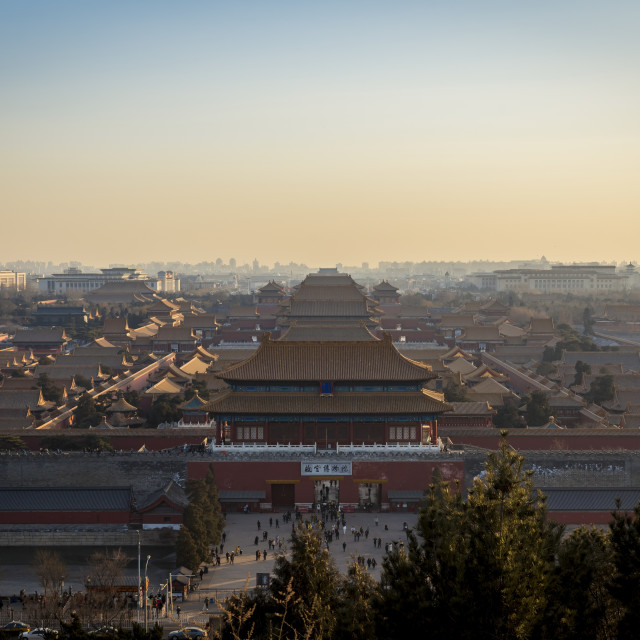 """""""Views of the Forbbiden City and beyond from Jingshan Park; Beijing, China"""" stock image"""