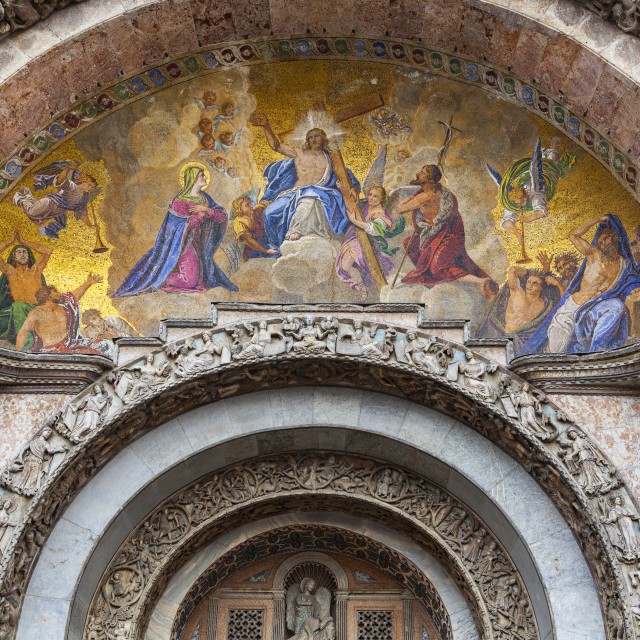 """""""Mosaic of the Last Judgement on Basilica of St. Marks; Venice, Italy"""" stock image"""