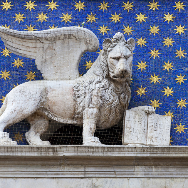 """""""Statue of winged lion, symbol of St. Mark, St. Marks Square; Venice, Italy"""" stock image"""