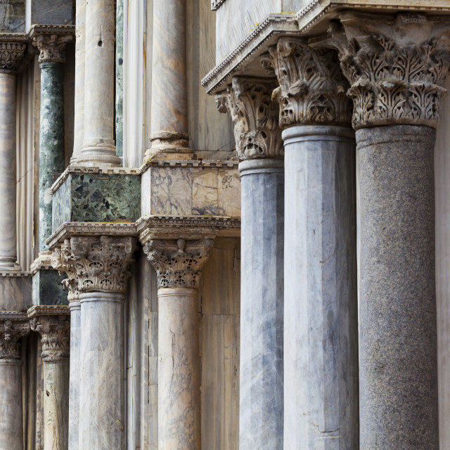 """""""Marble columns of St. Mark's Basilica; Venice, Italy"""" stock image"""