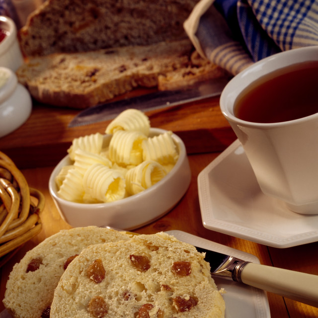 """""""Fruit Scone, Butter And Tea"""" stock image"""