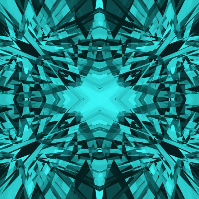 """""""Blue shards kaleidoscope pattern"""" stock image"""
