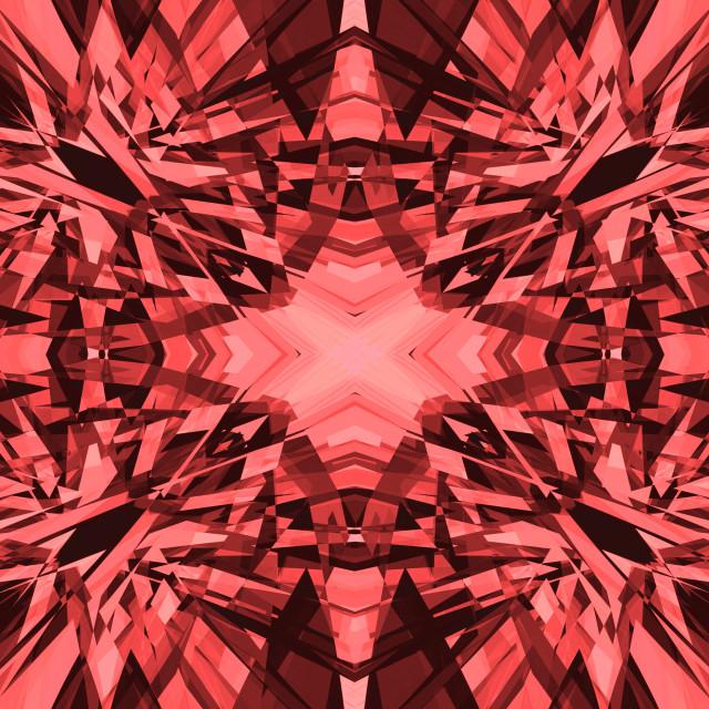 """Red shards kaleidoscope pattern"" stock image"
