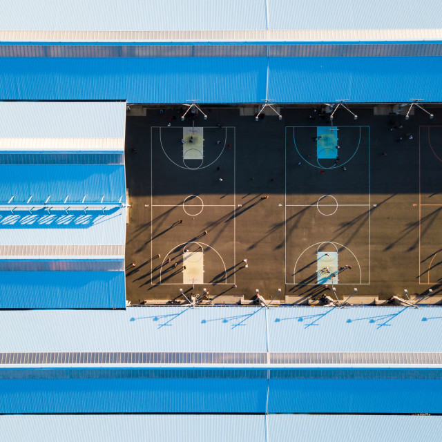 """Aerial view of a basketball court"" stock image"