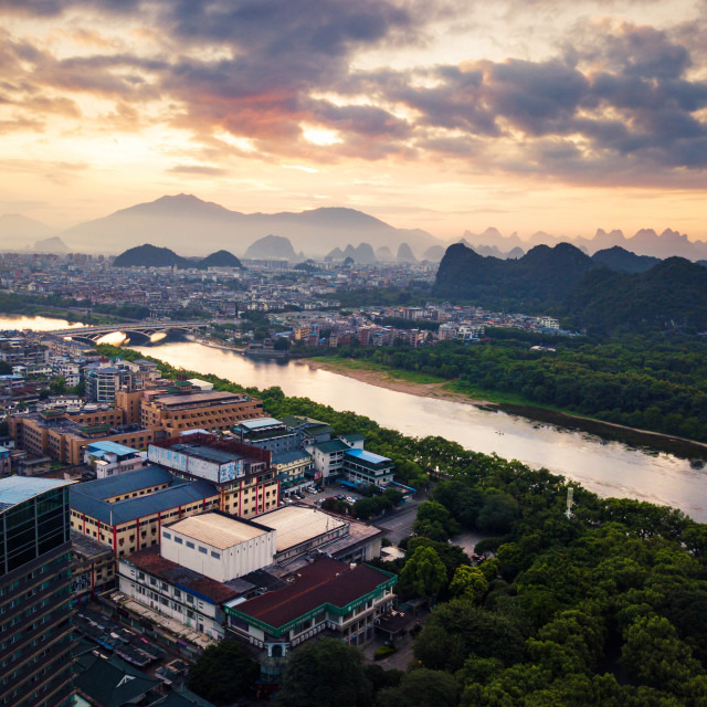 """Sunrise over Li river in Guilin, China aerial view"" stock image"