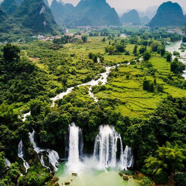 """Ban Gioc Detian waterfall on China and Vietnam border aerial vie"" stock image"