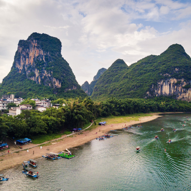 """Yangshuo county and Li river in Guilin, aerial view"" stock image"