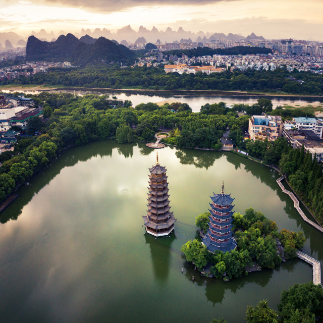 """""""Aerial view of Guilin park with twin pagodas in China"""" stock image"""