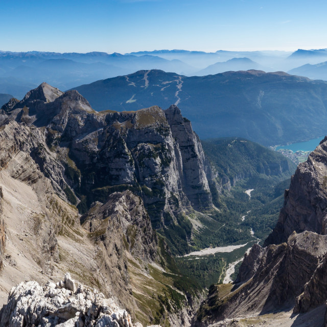 """Panoramic view of famous Dolomites mountain peaks, Brenta. Trent"" stock image"