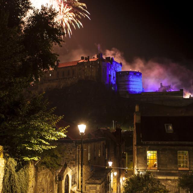 """Fireworks over Edinburgh Castle"" stock image"