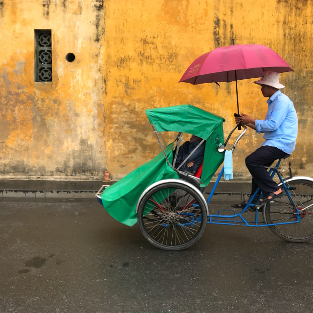 """""""Tricycle in the rain"""" stock image"""
