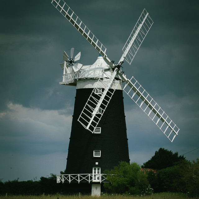 """The Windmill at Burnham Overy, Norfolk"" stock image"