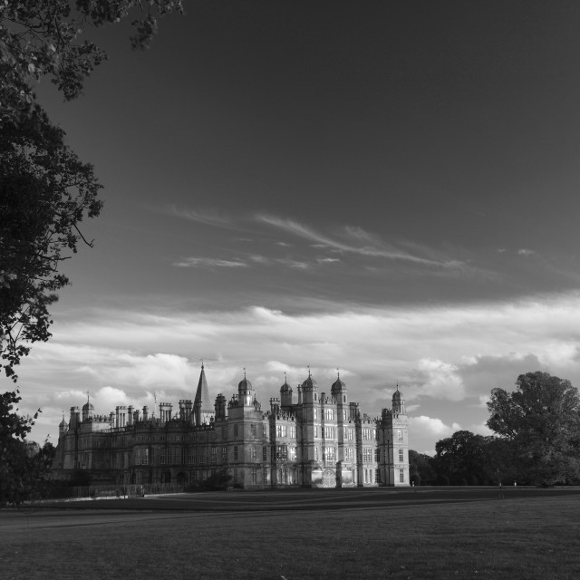 """""""Autumn colours, Burghley House, Elizabethan Stately Home on the border of..."""" stock image"""