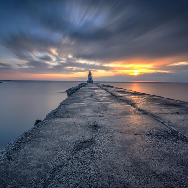 """Southampton Lighthouse at Sunset"" stock image"