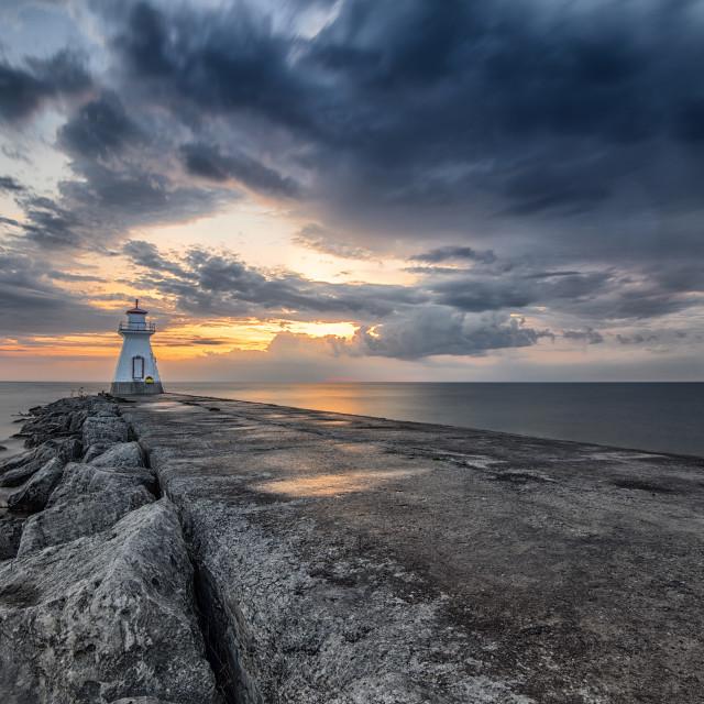 """Southampton Lighthouse at Sunset 2"" stock image"