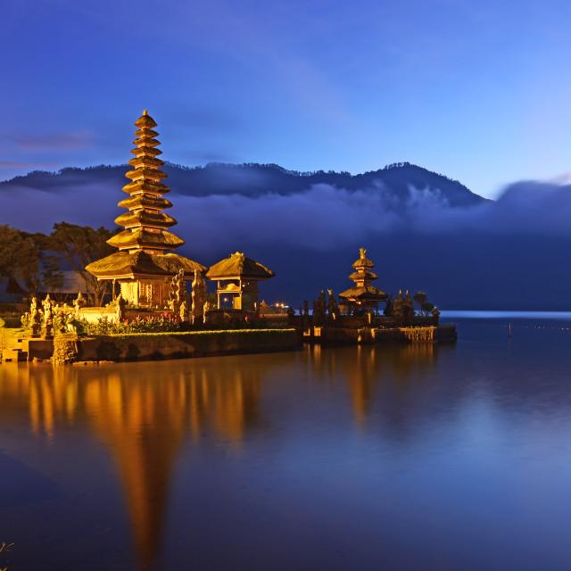 """""""Sunrise over beautiful Pura Ulun Danu Bratan temple in Bali Indonesia"""" stock image"""