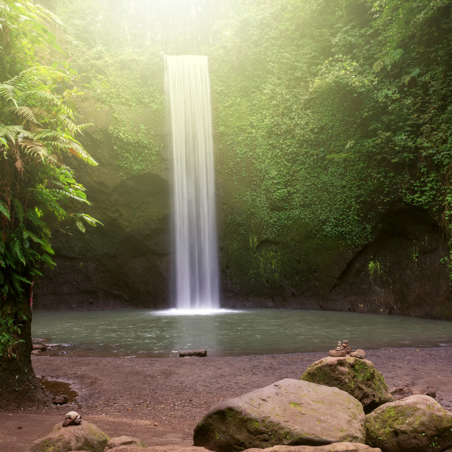 """Long exposure Tibumana waterfall in Bangli, Bali Indonesia"" stock image"