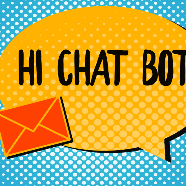 """""""Handwriting text Hi Chat Bot. Concept meaning Greeting to robot machine who..."""" stock image"""