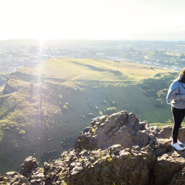"""Tourists on top of Arthurs Seat"" stock image"
