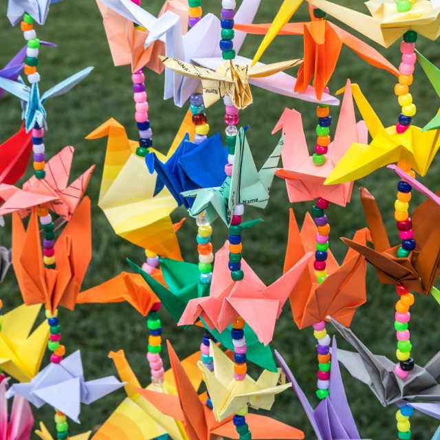 """""""Colorful garlands of Japanese origami cranes"""" stock image"""