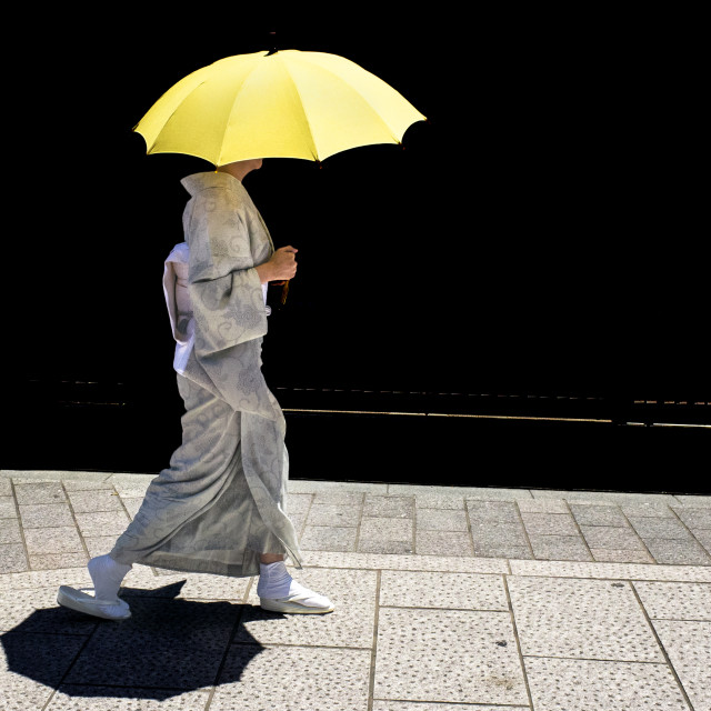 """Kimono with yellow parasol"" stock image"