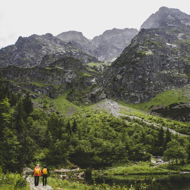 """""""path to Rysy peak with tourists, Morskie Oko, Tatra"""" stock image"""