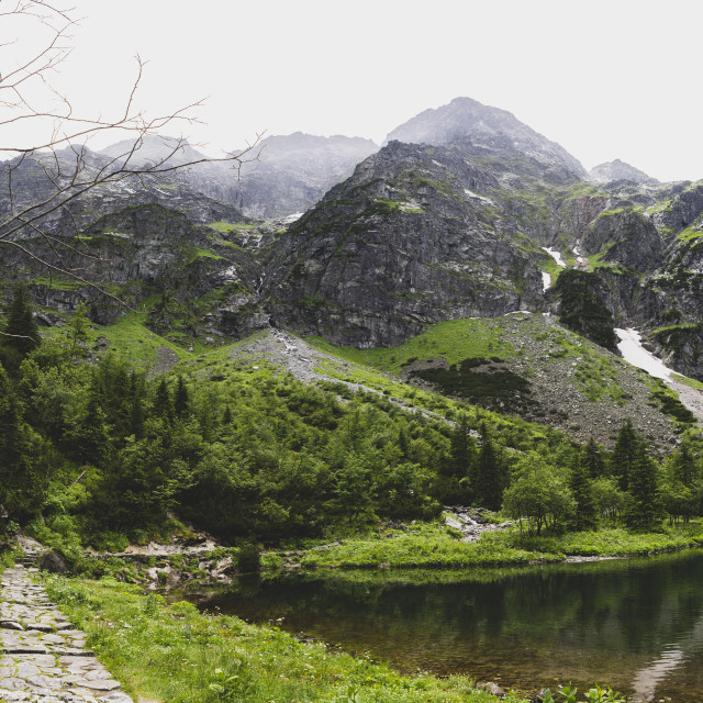 """path to Rysy peak without tourists, Morskie Oko, Tatra"" stock image"