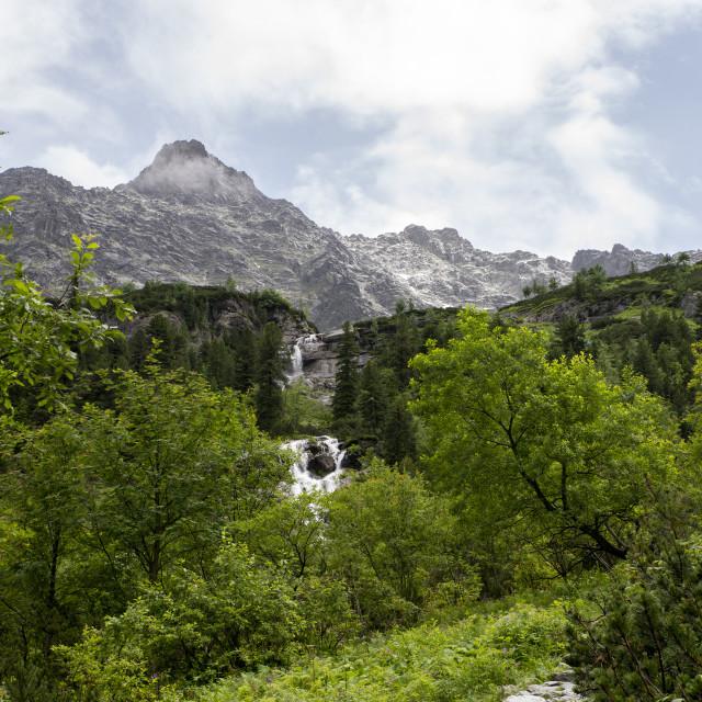 """waterfall at Czarny Staw, Tatra Mountains"" stock image"