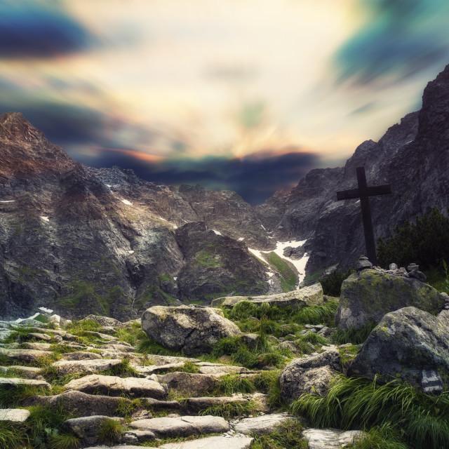 """""""Rysy peak with the cross, religion concept"""" stock image"""