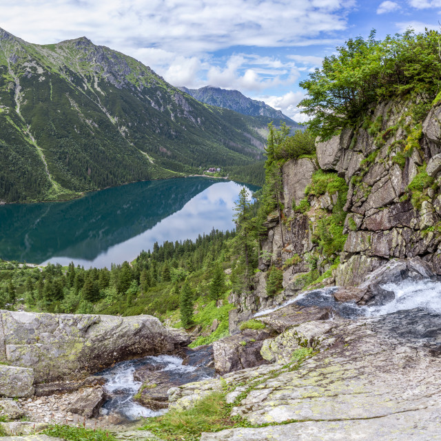 """Panorama view on Morskie Oko from the to the Czarny Staw, Tatra, Poland"" stock image"