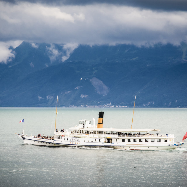 """Paddle steamer on Lac Leman"" stock image"
